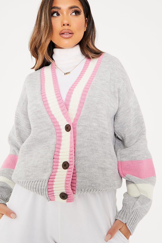 Grey Varsity Striped Cardigan view 5