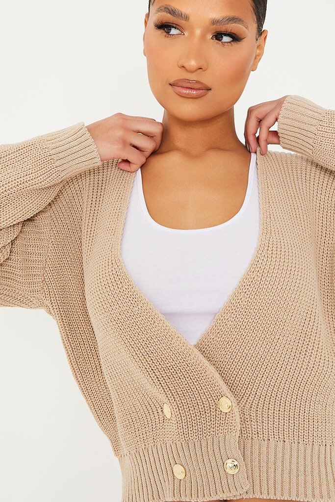 Stone Double Breasted Deep V Cardigan view 5