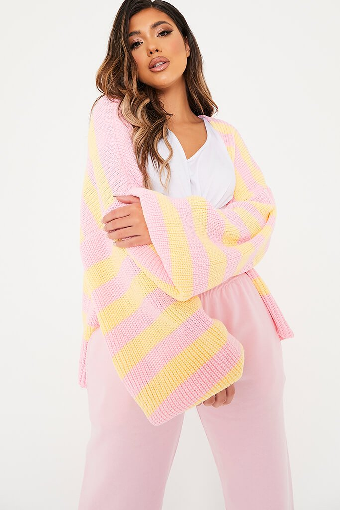 Pink Striped Open Front Cardigan