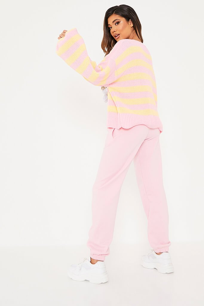 Pink Striped Open Front Cardigan view 4