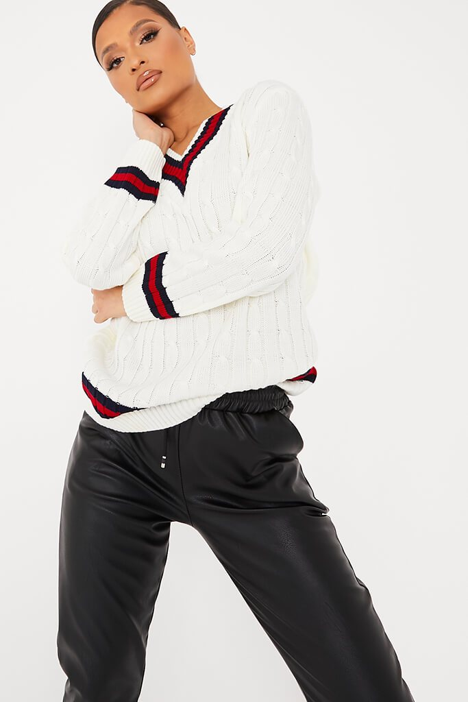 Ivory Collegiate Cable Knit Jumper view main view