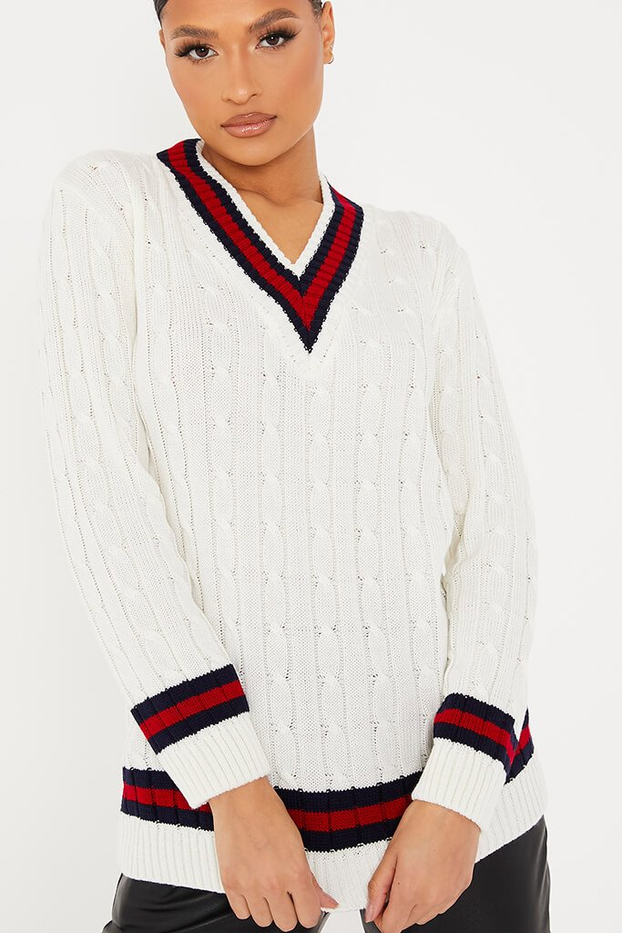 Ivory Collegiate Cable Knit Jumper view 5