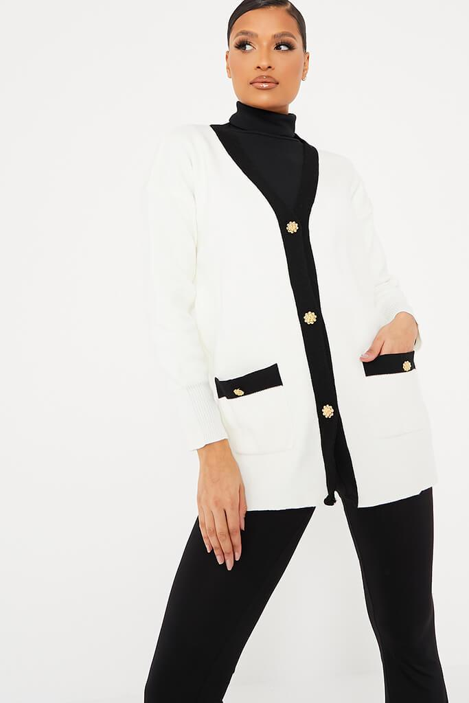 White Premium Button Contrast Cardigan view main view