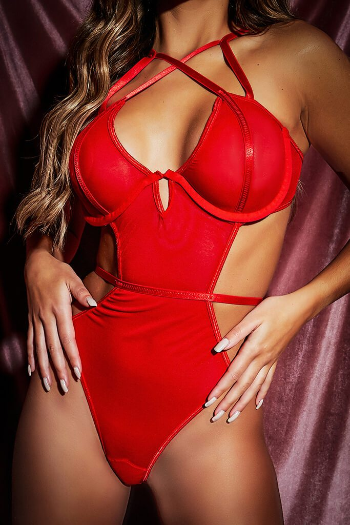 Red Strappy Cut Out Bodysuit view 5