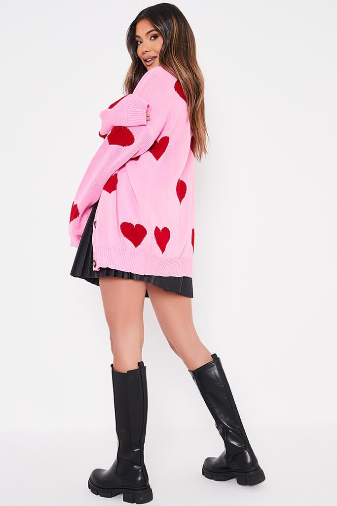 Pink Oversized Longline Heart Print Cardigan view 4