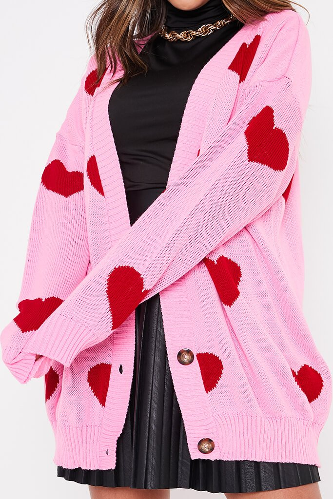 Pink Oversized Longline Heart Print Cardigan view 5