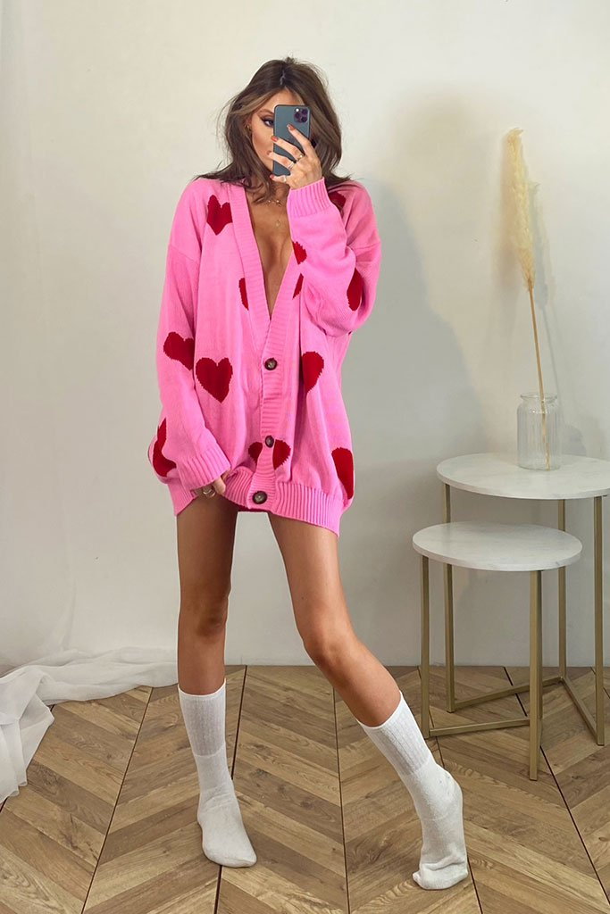 Pink Oversized Longline Heart Print Cardigan view main view