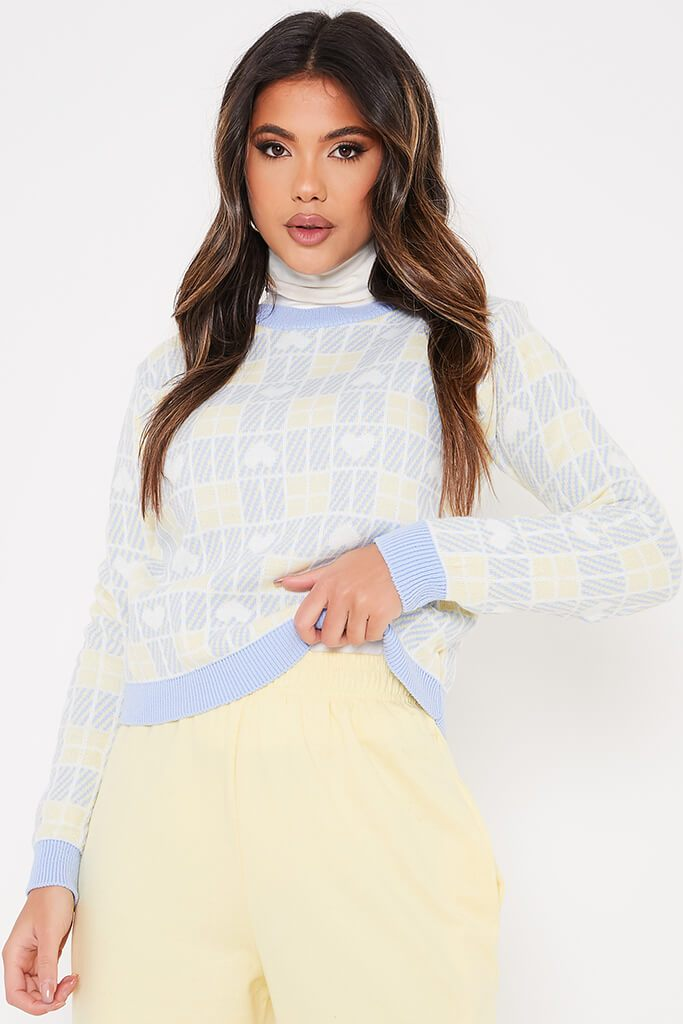 Baby Blue Heart Jacquard Crew Neck Jumper