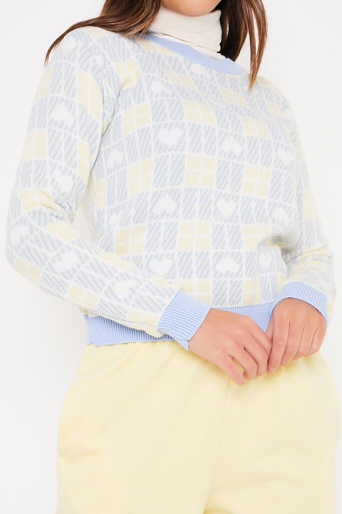 Baby Blue Heart Jacquard Crew Neck Jumper view 5