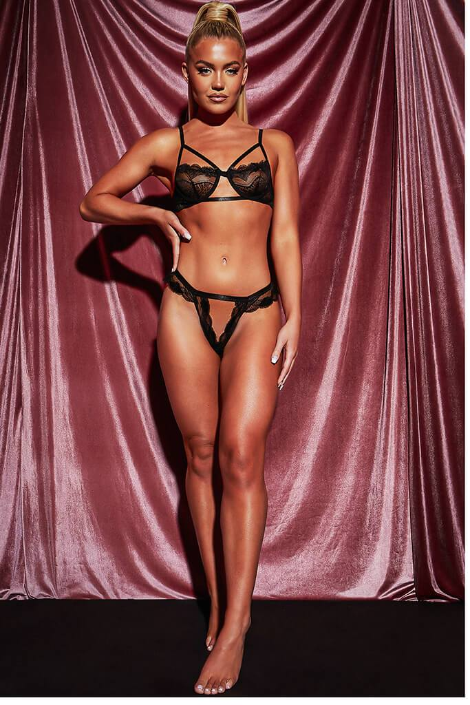 Black Cut Out Triangle Strappy Lace Frill Lingerie Set view 3