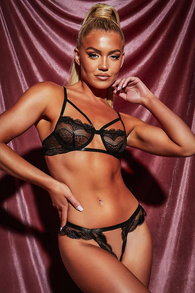 Black Cut Out Triangle Strappy Lace Frill Lingerie Set view 2