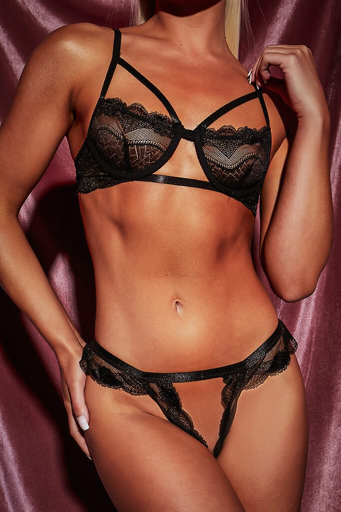 Black Cut Out Triangle Strappy Lace Frill Lingerie Set view 5