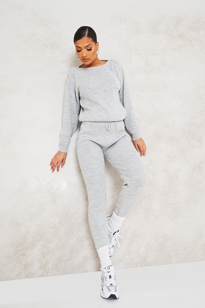 Grey Slash Neck Knitted Jumper With Utility Pocket view 2