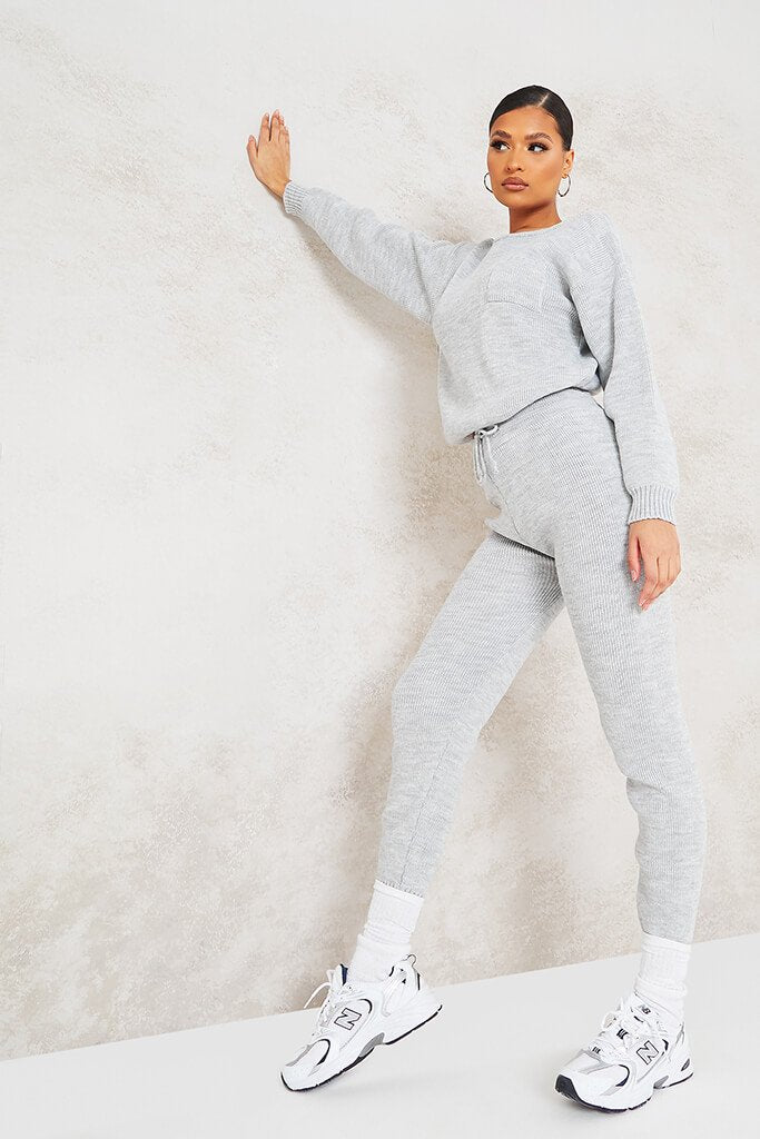 Grey Slash Neck Knitted Jumper With Utility Pocket view 3