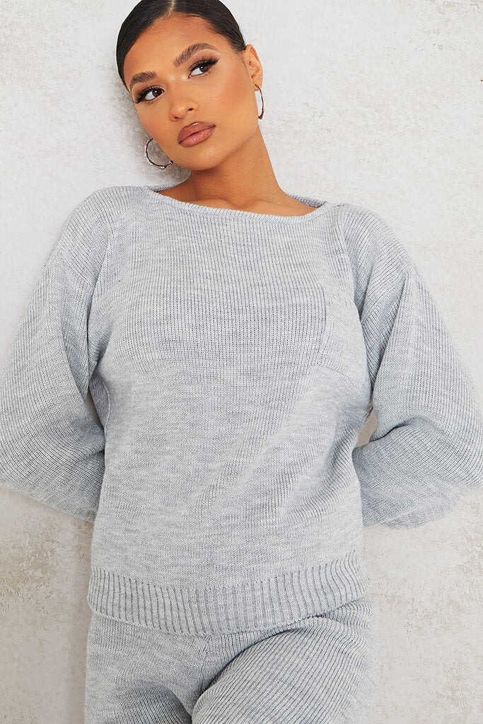 Grey Slash Neck Knitted Jumper With Utility Pocket view 5