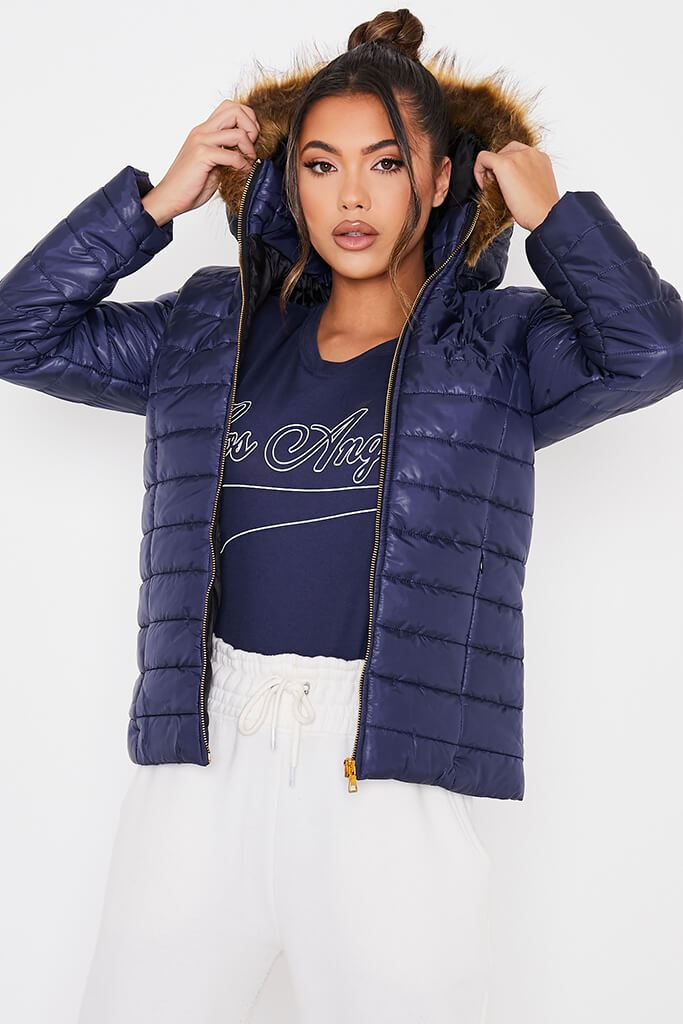 Navy Hooded High Shine Padded Jacket view main view