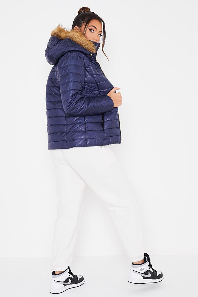 Navy Hooded High Shine Padded Jacket view 3
