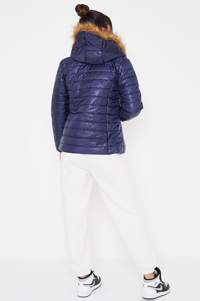 Navy Hooded High Shine Padded Jacket view 4