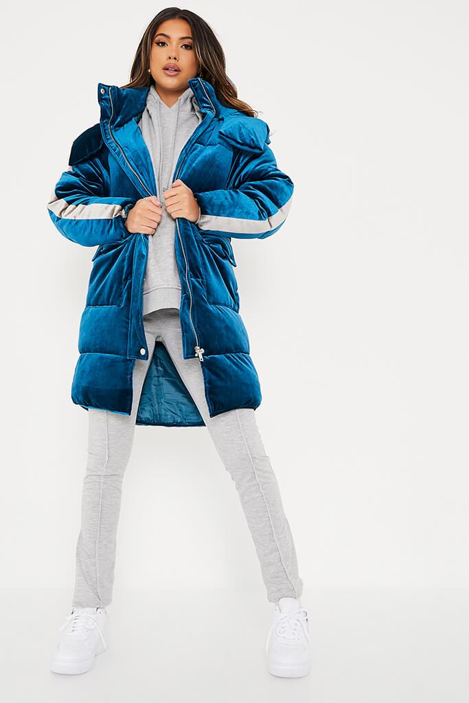 Blue Velour Long Line Puffer Coat view 2