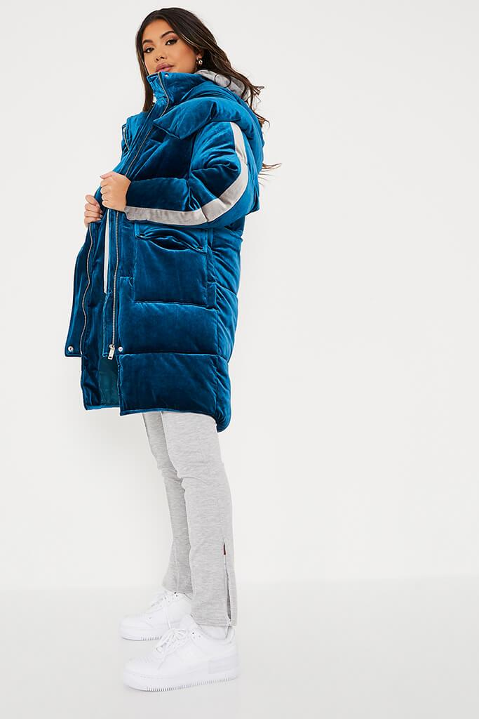 Blue Velour Long Line Puffer Coat view 3
