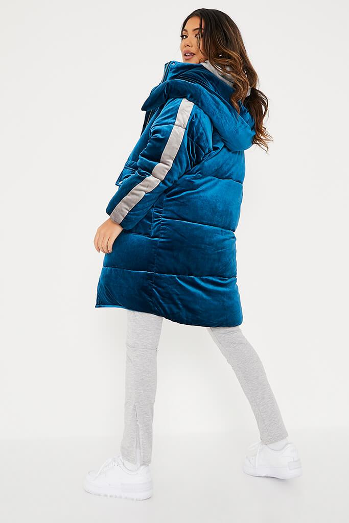 Blue Velour Long Line Puffer Coat view 4