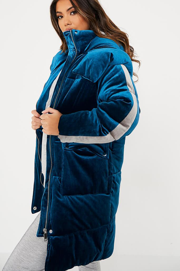 Blue Velour Long Line Puffer Coat view 5