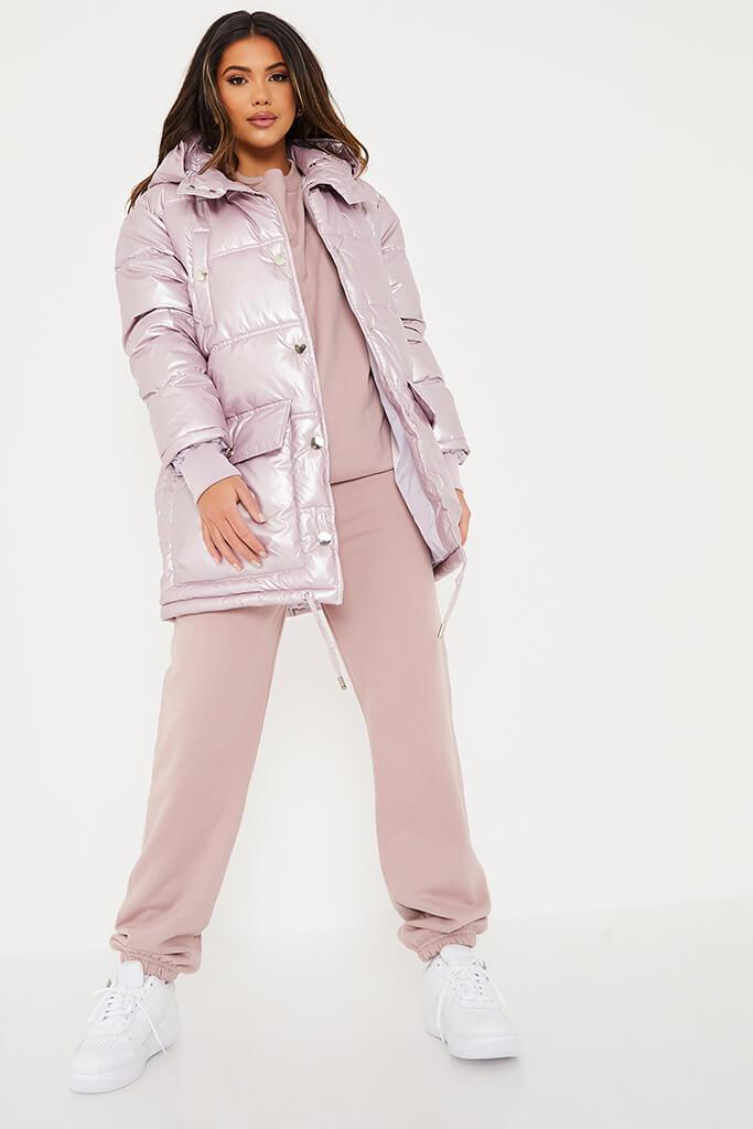 Rose Shiny Long Line Puffer Coat view 2
