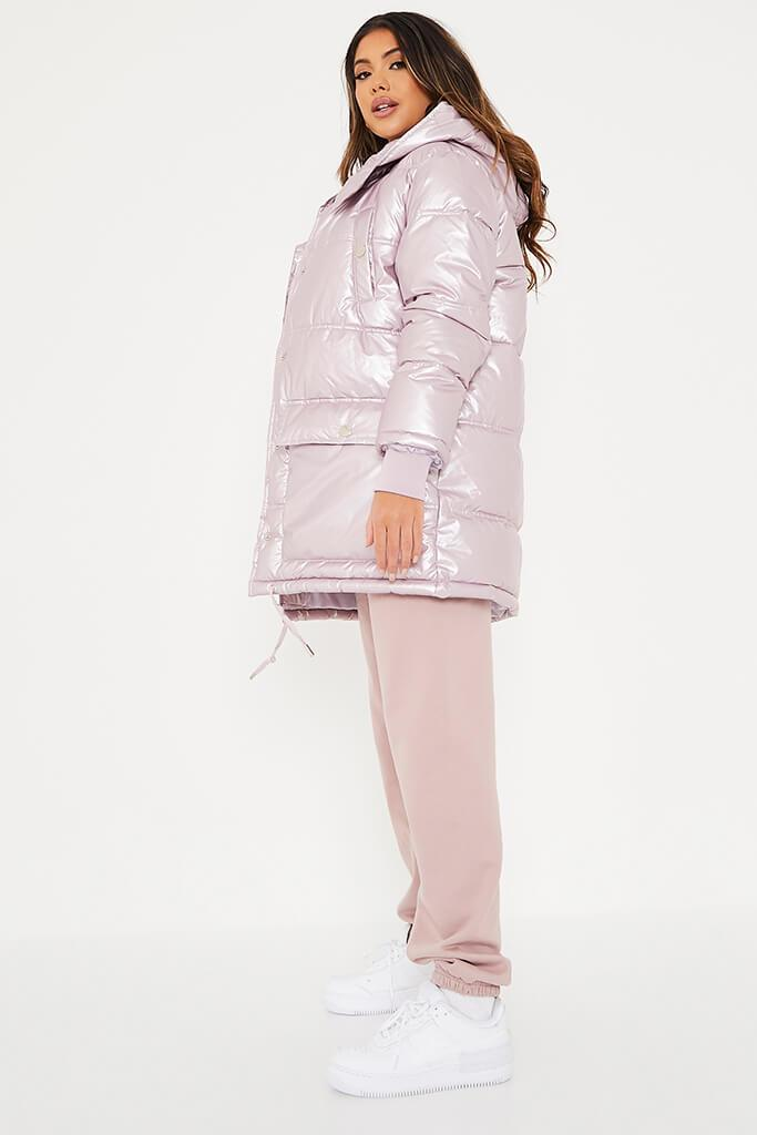 Rose Shiny Long Line Puffer Coat view 3