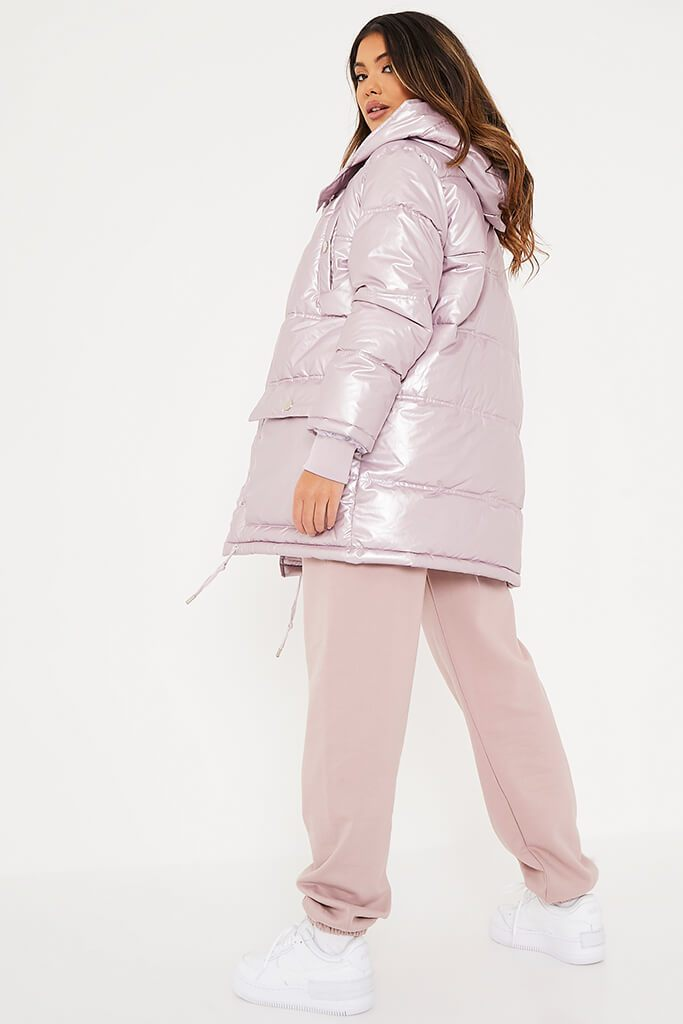 Rose Shiny Long Line Puffer Coat view 4