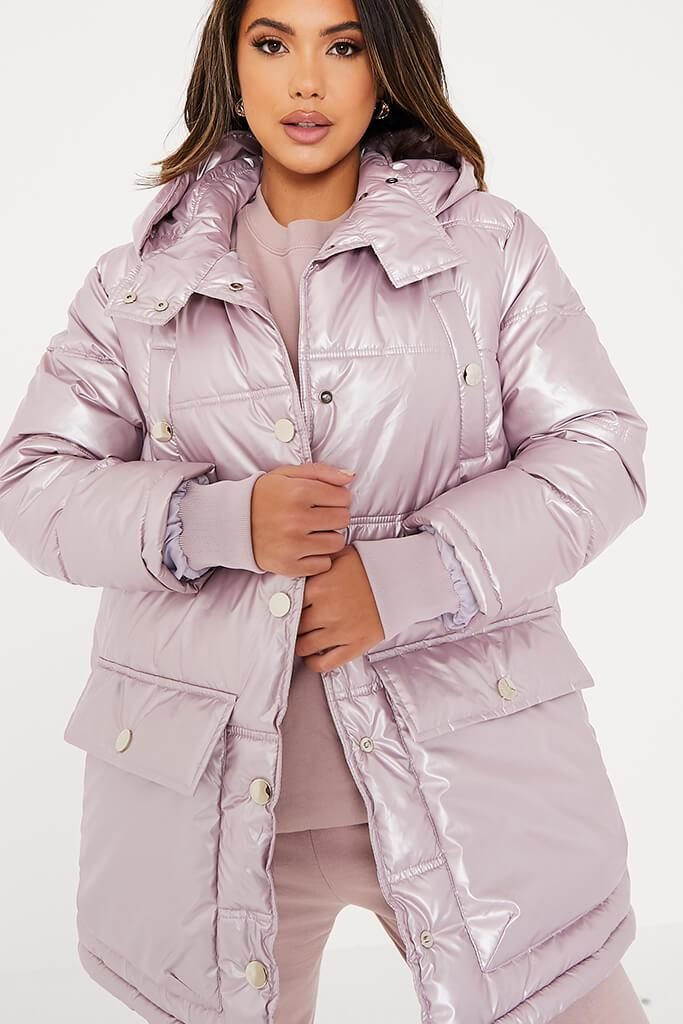 Rose Shiny Long Line Puffer Coat view 5