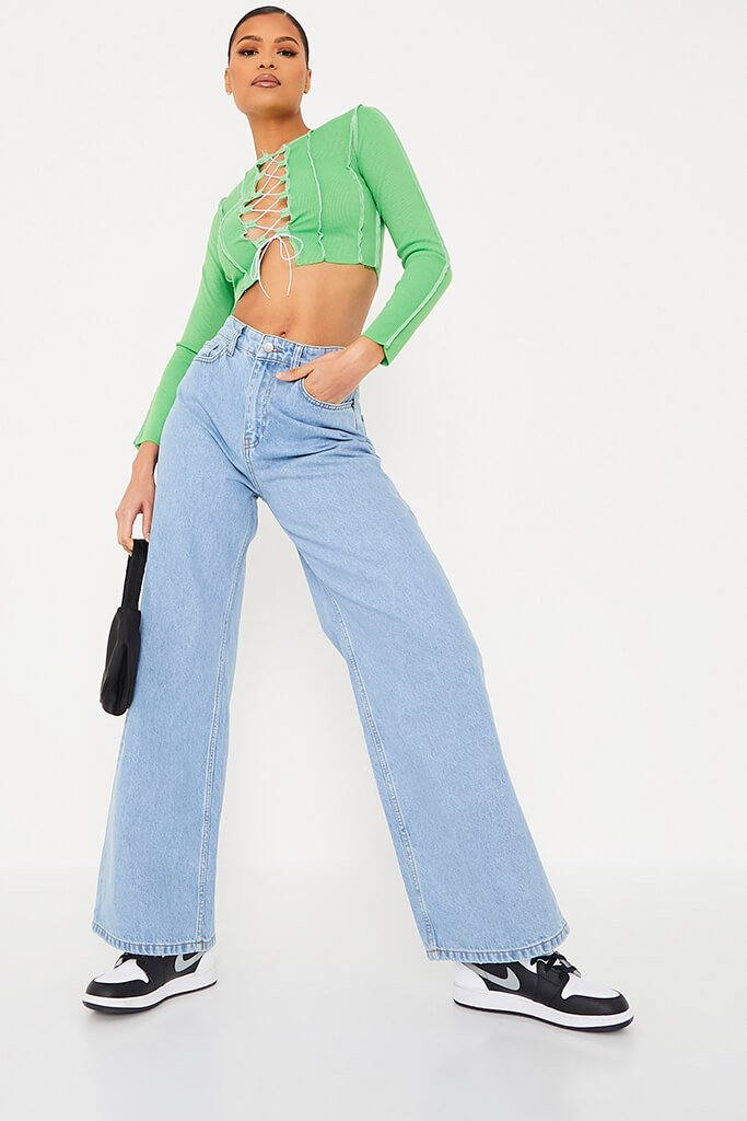 Lime Green Exposed Seam Tie Up Front Long Sleeve Crop Top view 2
