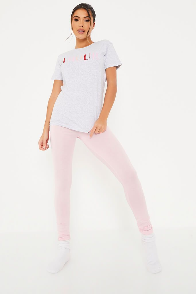 Baby Pink Amour Leggings And Tee Pyjama Set view main view