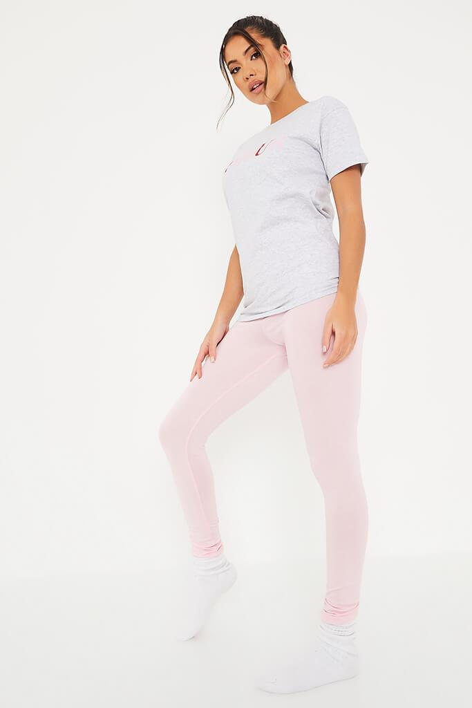 Baby Pink Amour Leggings And Tee Pyjama Set view 3