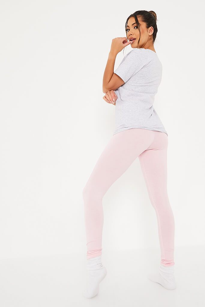 Baby Pink Amour Leggings And Tee Pyjama Set view 4