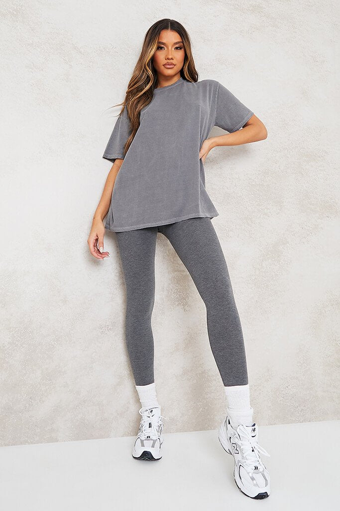 Grey Ultimate Oversized Washed Basic T-Shirt view main view