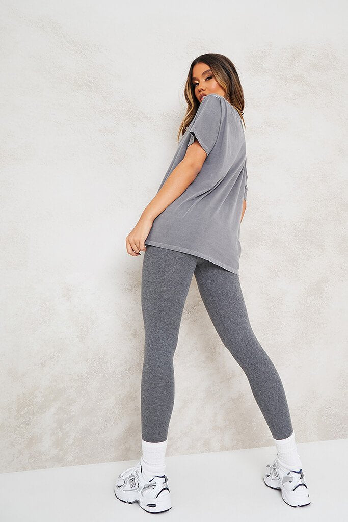 Grey Ultimate Oversized Washed Basic T-Shirt view 3