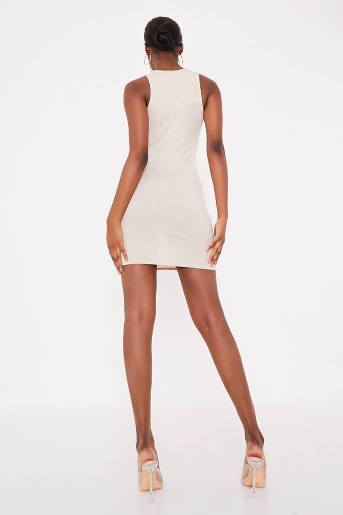 Stone Basic Jersey Racer Neck Bodycon Dress view 4