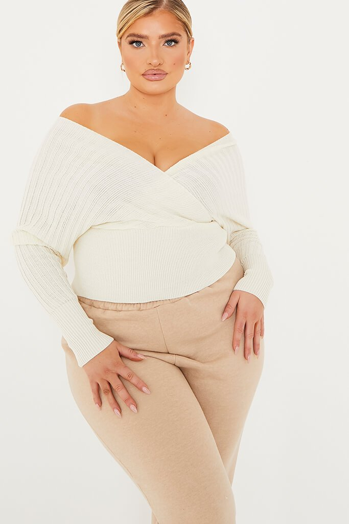 Cream Plus Bardot Slouchy Knit Top view main view