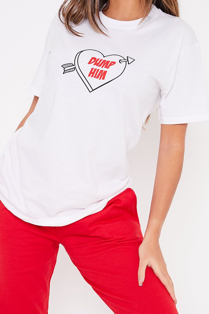 White Dump Him Oversized T-Shirt view 5