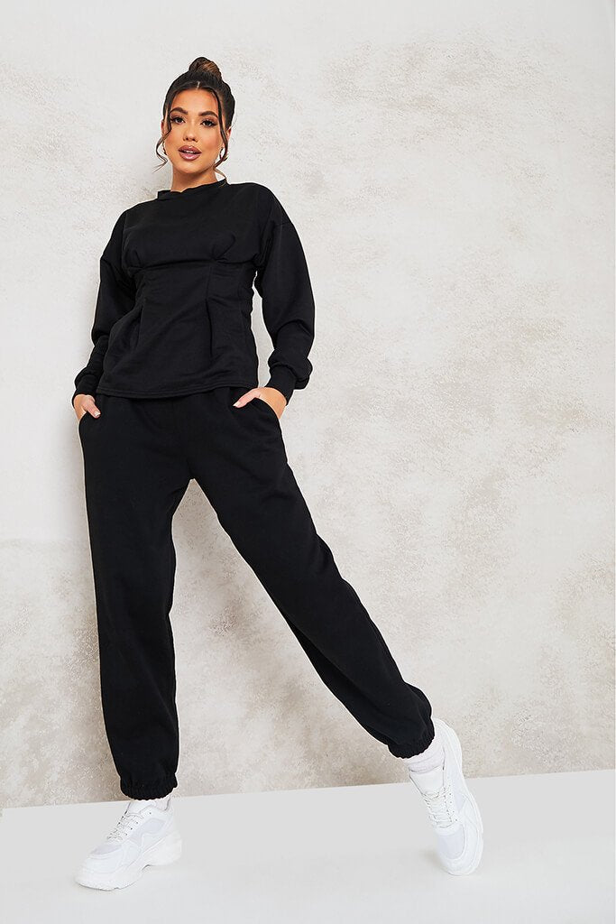 Black Cinched Waist Sweatshirt view 2