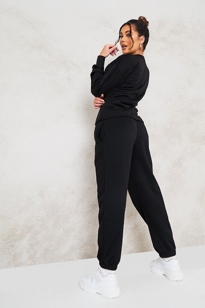 Black Cinched Waist Sweatshirt view 4