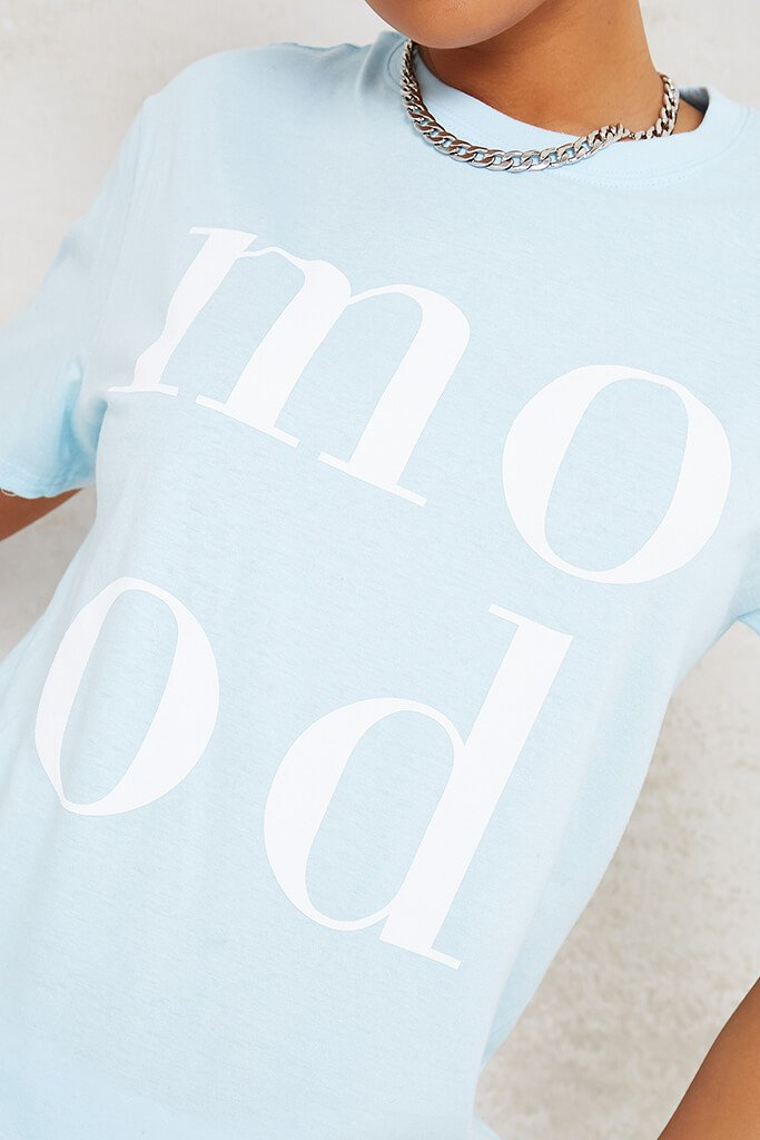 Baby Blue Mood Slogan Oversized T-Shirt view 5