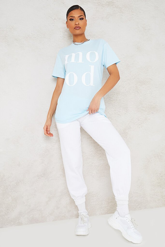 Baby Blue Mood Slogan Oversized T-Shirt view 2