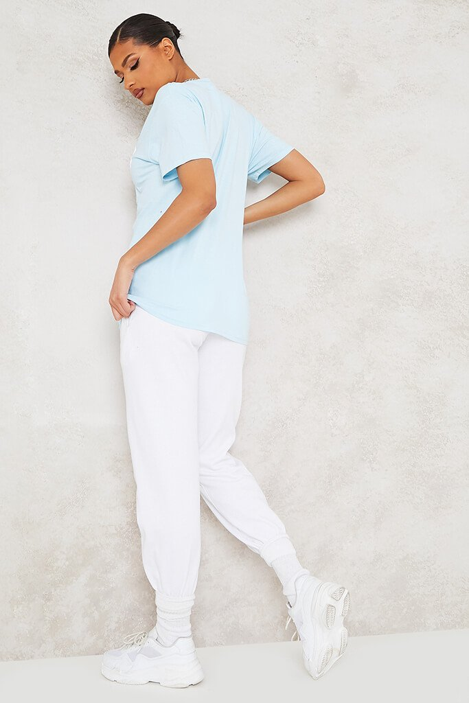 Baby Blue Mood Slogan Oversized T-Shirt view 4