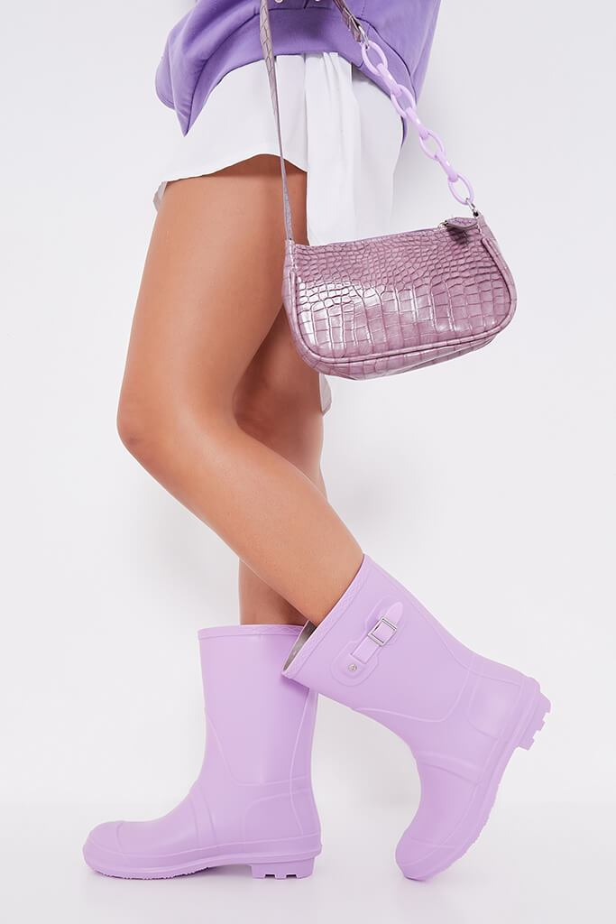 Lilac Buckle Detail Short Wellies