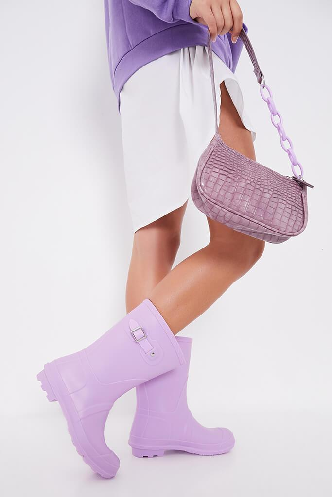 Lilac Buckle Detail Short Wellies view 2
