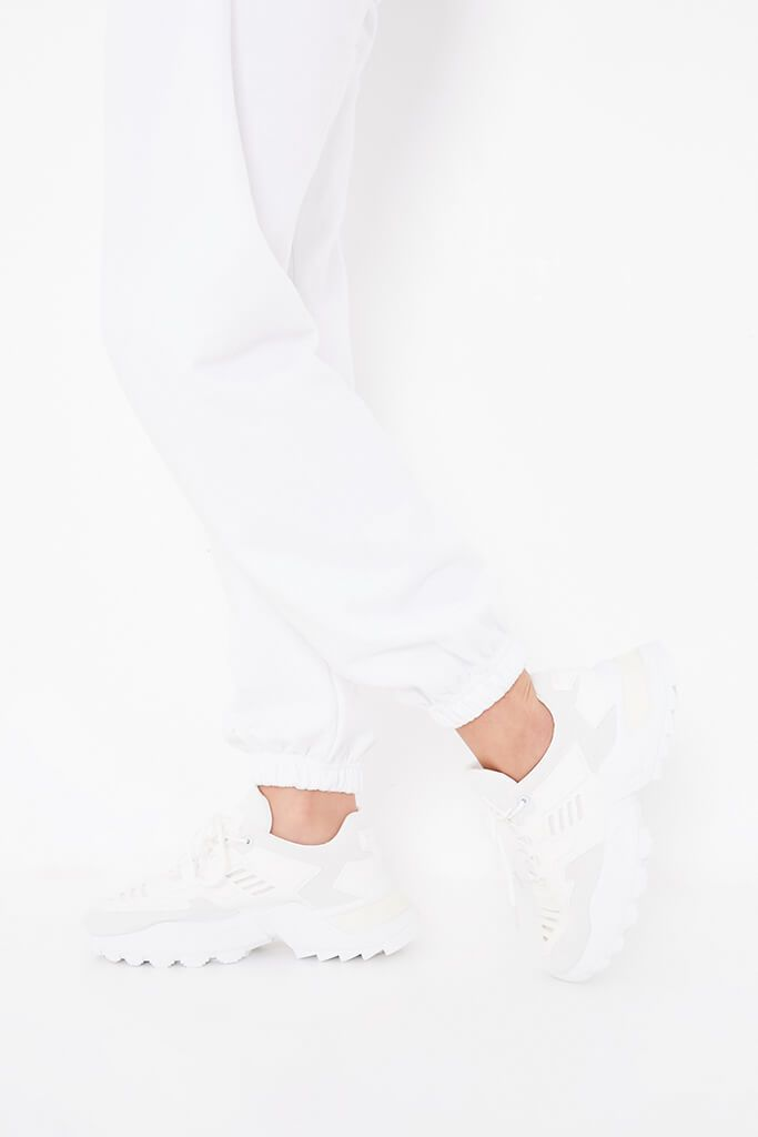 White Chunky Tonal Trainers view main view