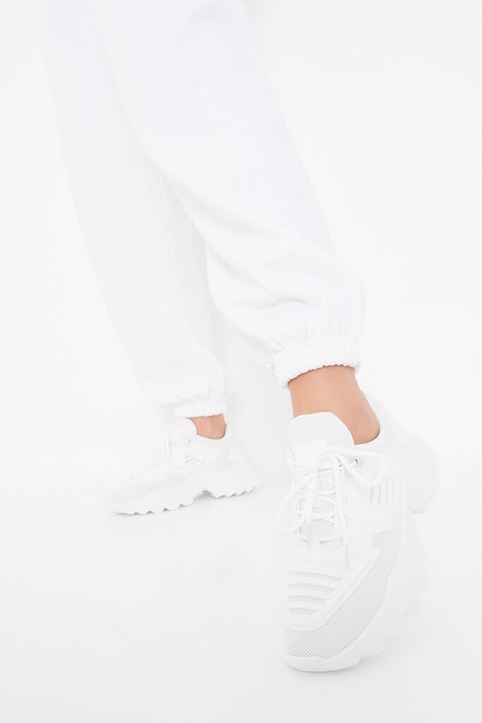 White Chunky Tonal Trainers view 2