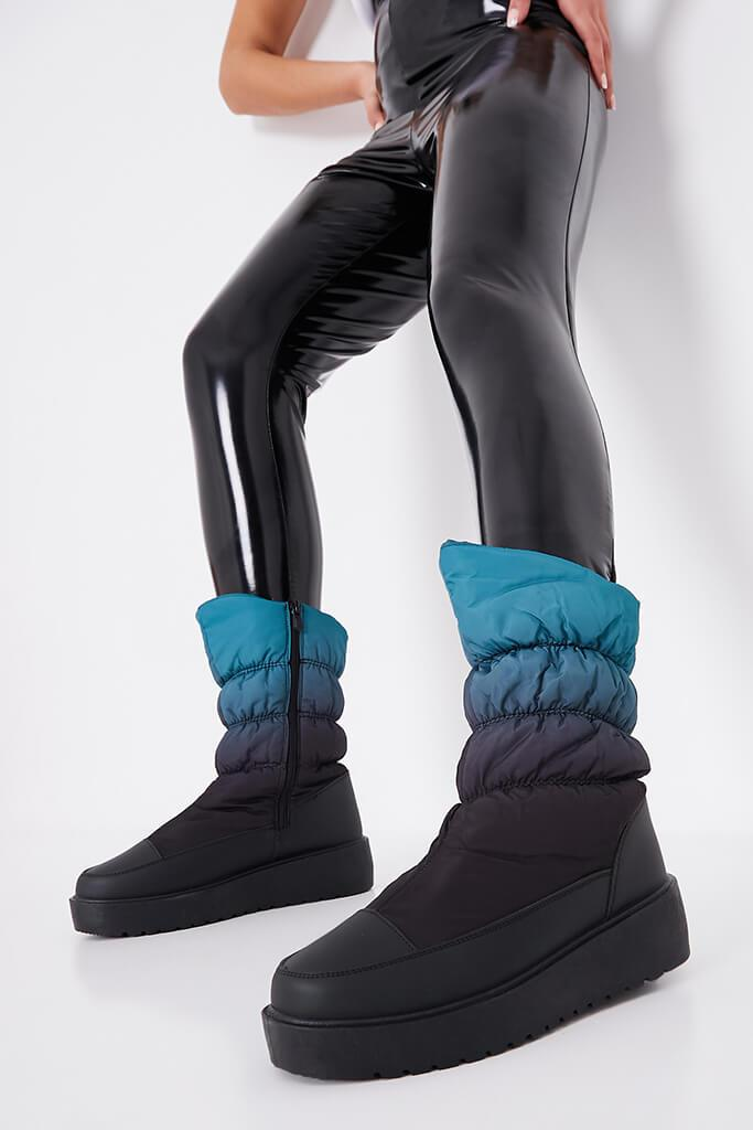 Teal Chunky Sole Snow Boots