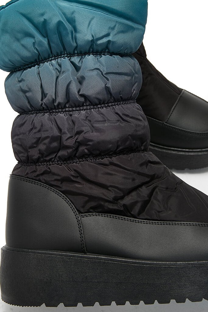 Teal Chunky Sole Snow Boots view 5
